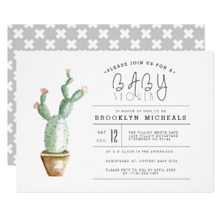 Cactus Planter | Watercolor Baby Shower Card