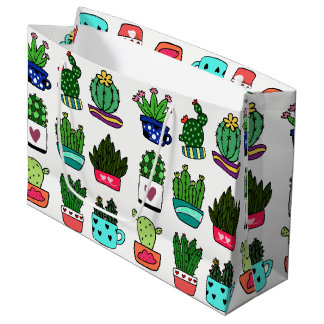 Cactus plants in colorful pot large gift bag