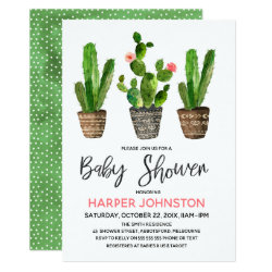 Cactus Pots Baby Shower Invitation