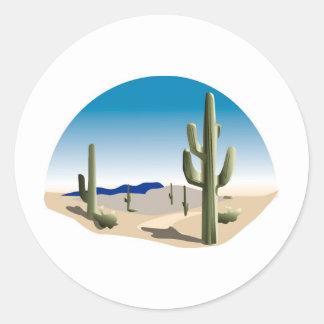 Cactus Prairie Scene Round Stickers