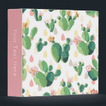"""Cactus Print 3-Ring Binder<br><div class=""""desc"""">This pretty binder with trendy cactus print will help you get organized while keeping your work space looking stylish. Personalize the spine with your own text.</div>"""