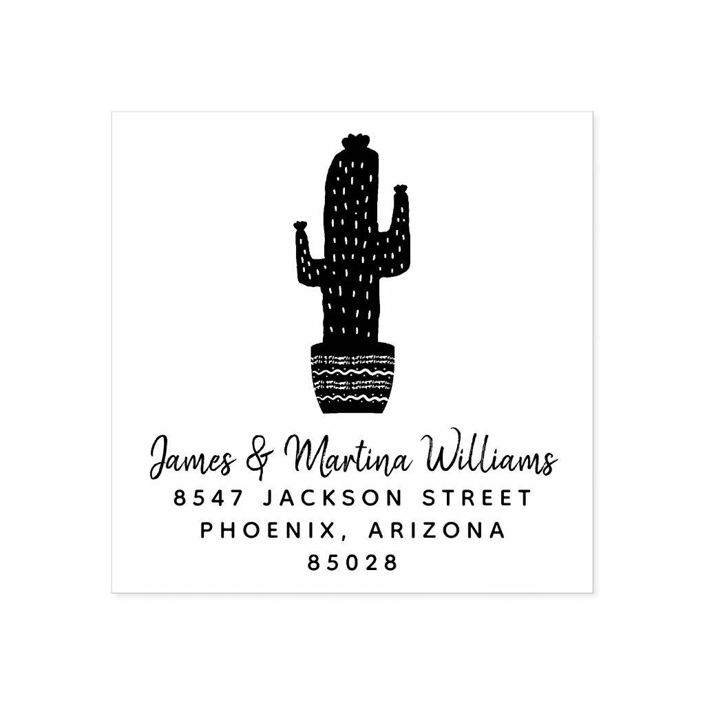 Cactus Return Address Rubber Stamp