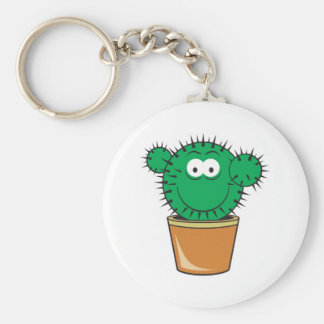 Cactus Smiley Face Basic Round Button Keychain