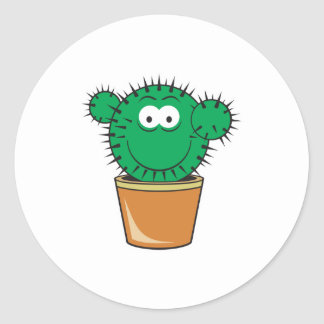 Cactus Smiley Face Round Stickers