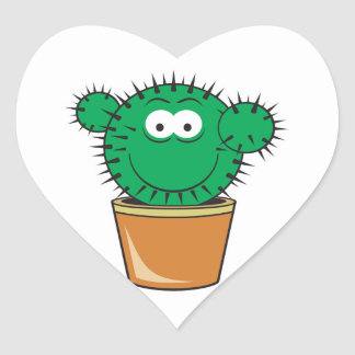 Cactus Smiley Face Round Sticker