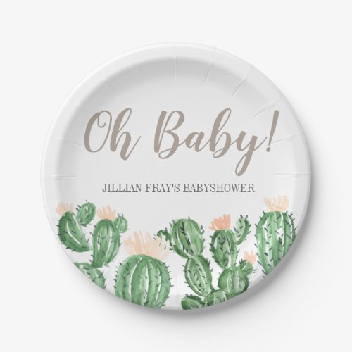 Cactus succulent baby shower paper plate