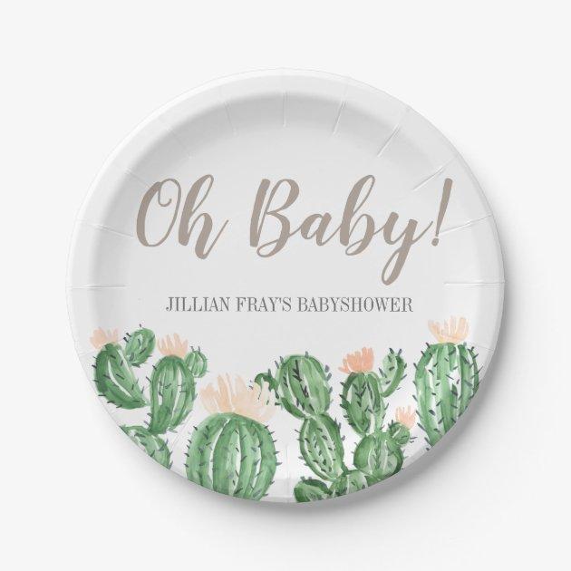 Cactus Succulent Baby Shower Paper Plate Zazzle Com