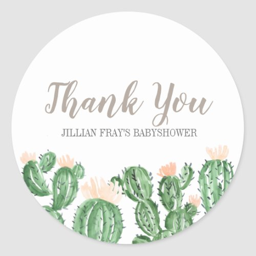 Cactus succulent baby shower thank you sticker