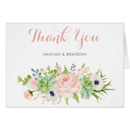 Cactus Succulent Floral Thank You Card