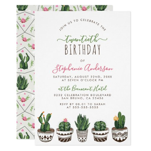 Cactus  Succulent Modern Geometric Birthday Party Invitation