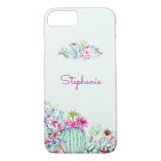 Cactus & Succulent Personalized Watercolor iPhone 8/7 Case