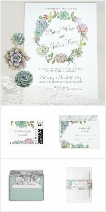 Cactus Succulent Wreath Wedding Invitation Set