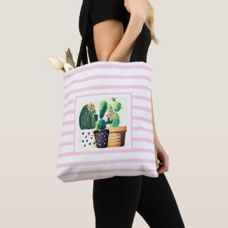 Cactus Succulents on Pink Striped Tote Bag