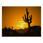 Cactus Sunset Vector Illustration - Poster