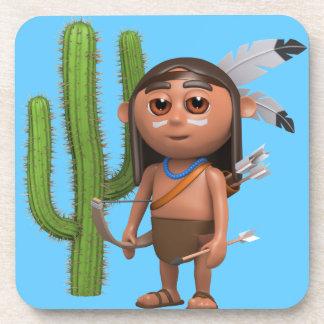 cactus valiente indio 3d posavasos de bebidas