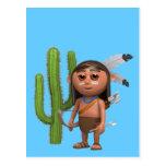 cactus valiente indio 3d tarjetas postales