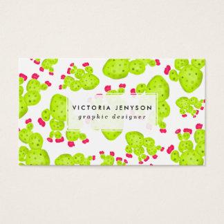 Cactus verde rosado pintado a mano de la acuarela tarjetas de visita