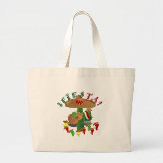 Cactus w/Sombrero de la fiesta y guitarra Bolsa De Tela Grande