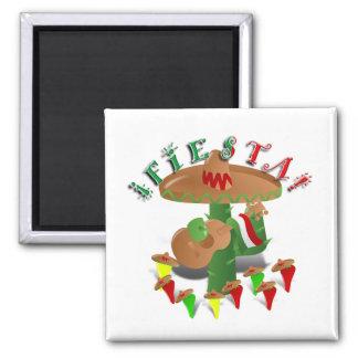 Cactus w/Sombrero de la fiesta y guitarra Imán Cuadrado