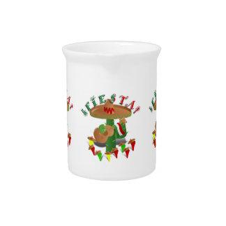 Cactus w Sombrero de la fiesta y guitarra Jarras De Beber