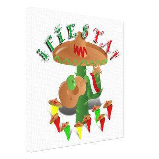 Cactus w Sombrero de la fiesta y guitarra Impresion En Lona