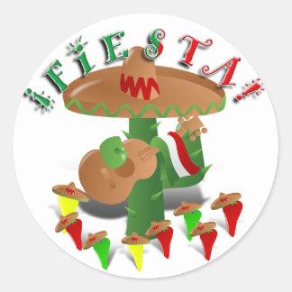 Cactus w/Sombrero de la fiesta y guitarra Pegatina Redonda