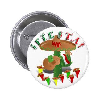 Cactus w/Sombrero de la fiesta y guitarra Pin Redondo De 2 Pulgadas