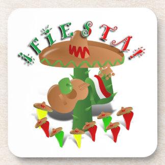 Cactus w/Sombrero de la fiesta y guitarra Posavasos