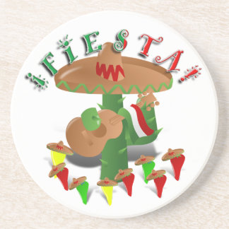 Cactus w/Sombrero de la fiesta y guitarra Posavasos Diseño