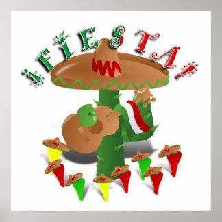 Cactus w/Sombrero de la fiesta y guitarra Póster