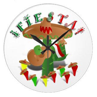 Cactus w/Sombrero de la fiesta y guitarra Reloj Redondo Grande