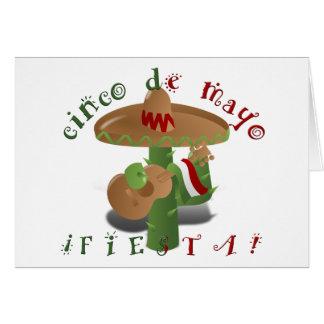 Cactus w/Sombrero de la fiesta y guitarra Tarjeta De Felicitación