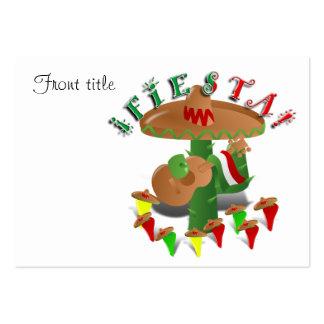 Cactus w/Sombrero de la fiesta y guitarra Tarjetas De Visita Grandes