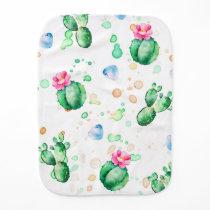 Cactus Watercolor Pattern Baby Burp Cloth
