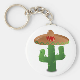 Cactus Wearing Sombrero Basic Round Button Keychain