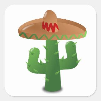 Cactus Wearing Sombrero Square Sticker