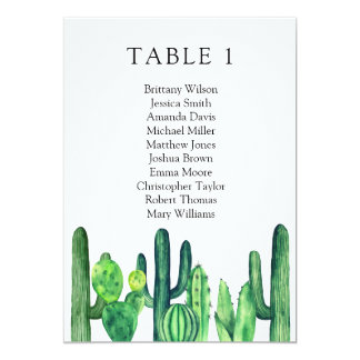 Cactus wedding seating chart. Green table plan Card