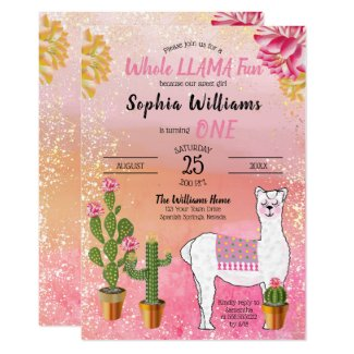 Cactus | Whole Llama Fun Girl 1st Birthday Party Invitation