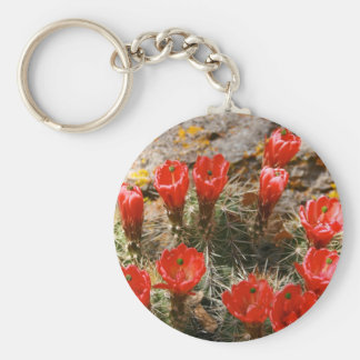 Cactus with Beautiful Red Blooms Key Chain