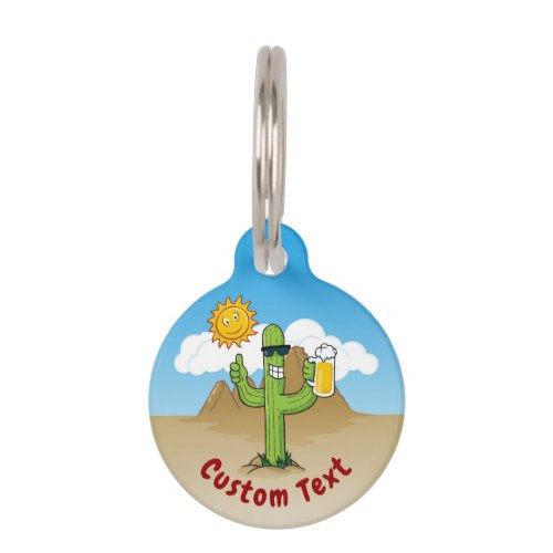 Cactus with Beer Pet ID Tag