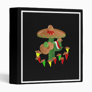 Cactus with Dancing Peppers 3 Ring Binder