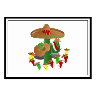 Cactus with Dancing Peppers Large Business Cards (Pack Of 100)