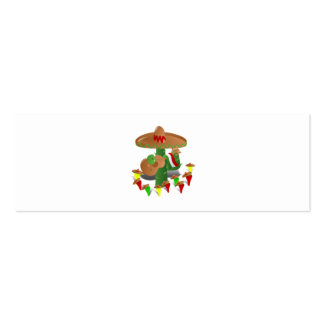 Cactus with Dancing Peppers Double-Sided Mini Business Cards (Pack Of 20)