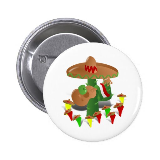 Cactus with Dancing Peppers Pinback Button