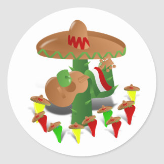 Cactus with Dancing Peppers Classic Round Sticker