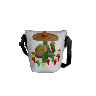 Cactus with Dancing Peppers Courier Bags