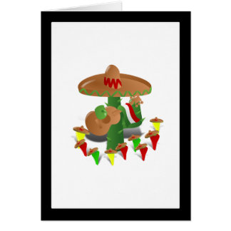 Cactus with Dancing Peppers Greeting Card