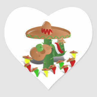 Cactus with Dancing Peppers Heart Sticker