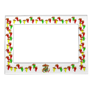 Cactus with Dancing Peppers Photo Frame Magnet