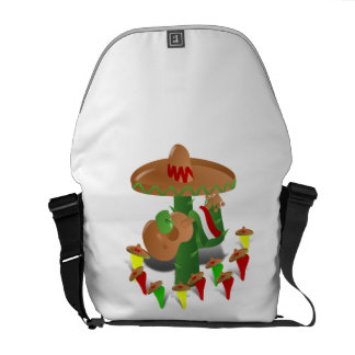 Cactus with Dancing Peppers Messenger Bag